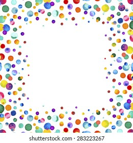 Watercolor rainbow colored confetti border with space for your text. Colorful confetti background. Confetti party. Vector illustration