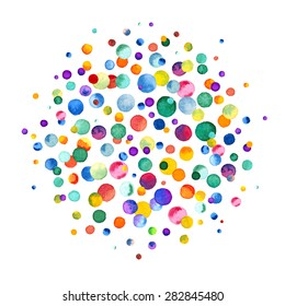 Watercolor rainbow colored confetti scattered around. Colorful confetti background. Confetti party. Vector illustration