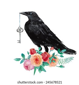 Watercolor raven with vintage key siting on garden roses. Hand drawn artistic blackbird and floral bouquet. Isolated crow illustration in vector