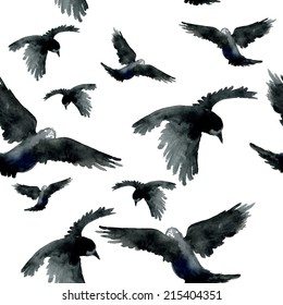 Watercolor ravens seamless pattern. Hand painted. Vector illustration.