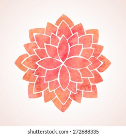 Watercolor red lotus flower. Mandala. Oriental indian, chinese style. Circled element for design. Flower pattern isolated on white background. Logo template. Vector illustration