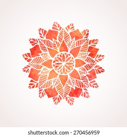 Watercolor red mandala. Geometric circled element for design. Lace watercolor flower pattern isolated on white background. Logo template. Vector illustration in oriental indian style