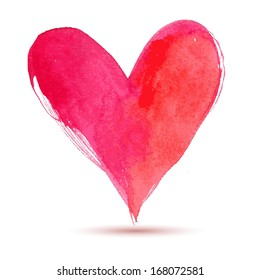 Watercolor red painted heart, vector element for your design