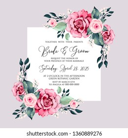 Watercolor red rose wedding invitation vector floral template