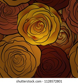 Watercolor red, yellow and orange roses seamless pattern. Hand painted sketch with abstract rose flowers in red, yellow and orange colors. Floral card design.