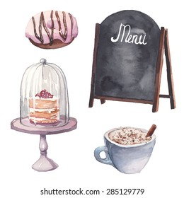 Watercolor restaurant interior set. Vector hand drawn illustrations: blackboard menu banner, cup of coffee, naked cake, donut. Food design objects isolated on white background