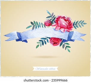 Watercolor ribbon and banner for text. Frame with flowers. Hand drawn elements for design.