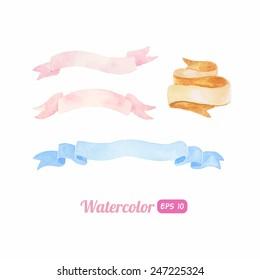 Watercolor ribbon set