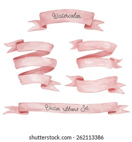 Watercolor ribbons set. Hand drawn stripes or banners for text.  Watercolor design elements isolated objects.