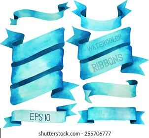 Watercolor ribbons. Vector design elements