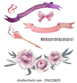 Watercolor romantic wedding decor set.  Various objects: floral bouquet with peony,  ribbons banner, tribal arrow, silk bow. Hand painted vector vintage set.