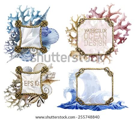 Watercolor Rope Frames Ocean Design Waves Stock Vector (Royalty Free ...