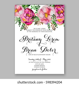 Watercolor Rose, Peony, Anemone Wedding Invitation Card Template Floral Bridal Shower invitation Wreath Bouquet with wight flowers, eucalyptus branches,  vector illustration in vintage