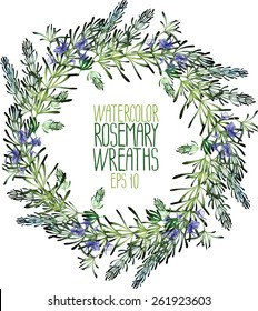 Watercolor rosemary wreath. Vector floral frame isolated on white background