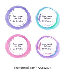 Watercolor round frame isolated on white with empty center for your text.; Neon blue and violet winter watercolour abstract template; background. Water stains. Eps 10 vector illustration.