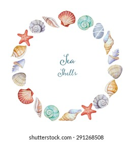 Watercolor round frame of sea shells, vector illustration.