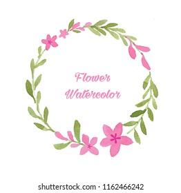 Watercolor round pink flower lettering