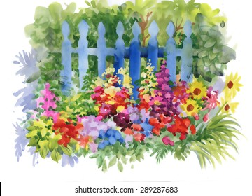 Watercolor Rural wooden fence in summer garden vector illustration
