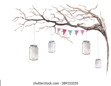 Watercolor rustic party decor. Hand drawn tree branch with multicolor flags garland and hanging jar mason. Vintage outdoor wedding banner in vector. Art isolated on white background