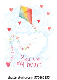 watercolor Saint Valentines Day vector card. Hand drawn flying kite and hearts. Greeting cover on 14 february. Love background