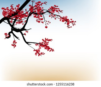 Watercolor sakura frame 2019. Background with blossom cherry tree branches. Hand drawn japanese flowers background