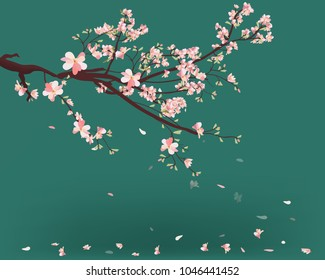 Watercolor sakura frame. Background with blossom cherry tree branches. Hand drawn japanese flowers