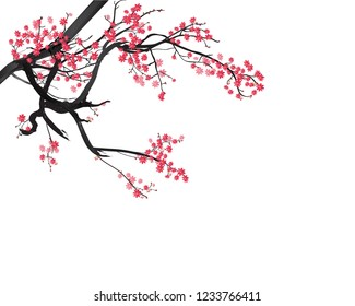 Watercolor sakura frame. Background with blossom cherry tree branches for new year 2019