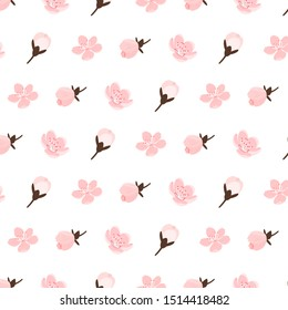 Watercolor sakura seamless pattern white pink flower petal texture background, decorative hand drawing japanese spring cherry blossom bloom illustration, floral fabric template fashion graphic vector