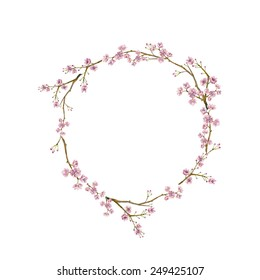 Watercolor sakura wreath. Natural round frame with blossom cherry tree branches. Hand drawn japanese flowers illustration on white background