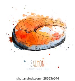 Watercolor salmon steak with splashes in free style. Hand drawn isolated on white background. Fresh and juicy colors. Vector illustration.