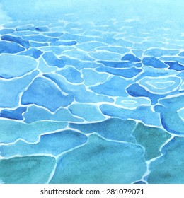 Watercolor sea background made in vector. Calm water.