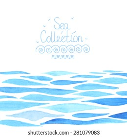 Watercolor sea background made in vector.