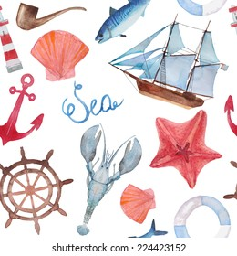 Watercolor sea navigation seamless pattern. Hand painted sea life texture with starfish, anchor, lobster, ship, shells and fish.