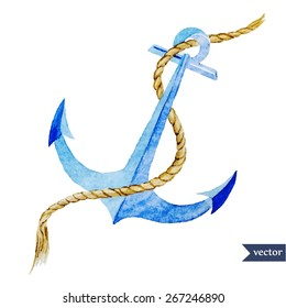 watercolor, sea, object, vector, anchor, rope
