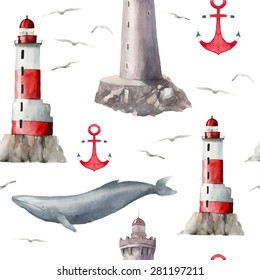 Watercolor sea signs pattern. Seamless texture with various lighthouses, whale, anchor and seagulls. Hand drawn artistic wallpaper. Vector background