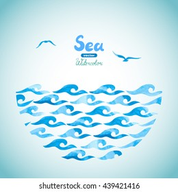 Watercolor sea vector background. Abstract blue waves and seagulls. Marine theme illustration.