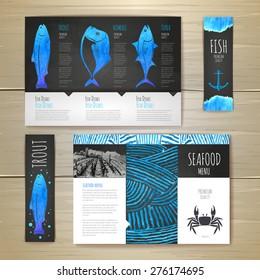 Watercolor Seafood concept design. Corporate identity. Document