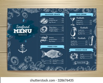 Watercolor Seafood menu design. Corporate identity. Document template