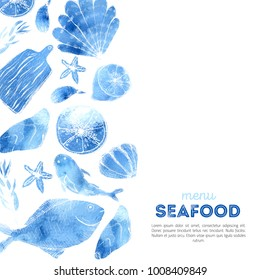 Watercolor Seafood menu design with sketch items. Fish design background