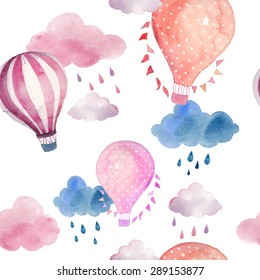 Watercolor seamless pattern with air balloon and clouds. Hand drawn vintage collage illustration with hot air balloon, flag garlands, abstract pastel clouds and rain drops. Vector kids texture