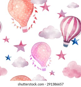 Watercolor seamless pattern with air balloon and clouds. Hand drawn vintage collage illustration with hot air balloon, flag garlands, abstract pastel clouds and stars. Vector wallpaper