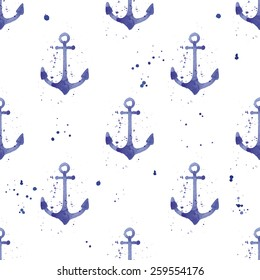 Watercolor seamless pattern with anchors and steering wheels