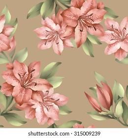 Watercolor seamless pattern with azalea.Vector illustration