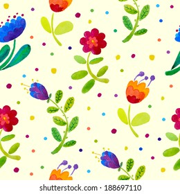 Watercolor seamless pattern with beautiful cute flowers and colorful dots. Vector illustration.