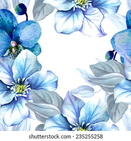 Watercolor seamless pattern with blue flowers.