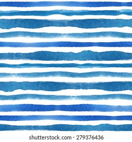 Watercolor seamless pattern borders texture.Summer Blue cyan horizontal strips,brush.Water,sea,ocean wave.Vector Hand drawing painting background ,fabric,Wallpaper,brush.Summer,travel,vacation design