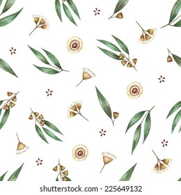Watercolor seamless pattern branches of eucalyptus. Vector illustration.