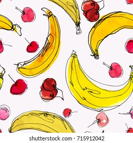 Watercolor seamless pattern with cherries and bananas. Hand drawn tropical design. Vector summer fruit illustration.