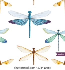 watercolor seamless pattern with dragonflies, white background