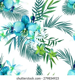 Watercolor seamless pattern of exotic flowers.Tropical flowers and palm leaves